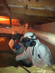 Installation of crawl space vapor barrier and wall insulation